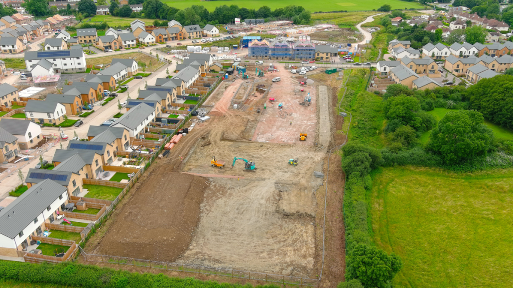 Ariel view of Two Rivers Primary building site taken with a drone.